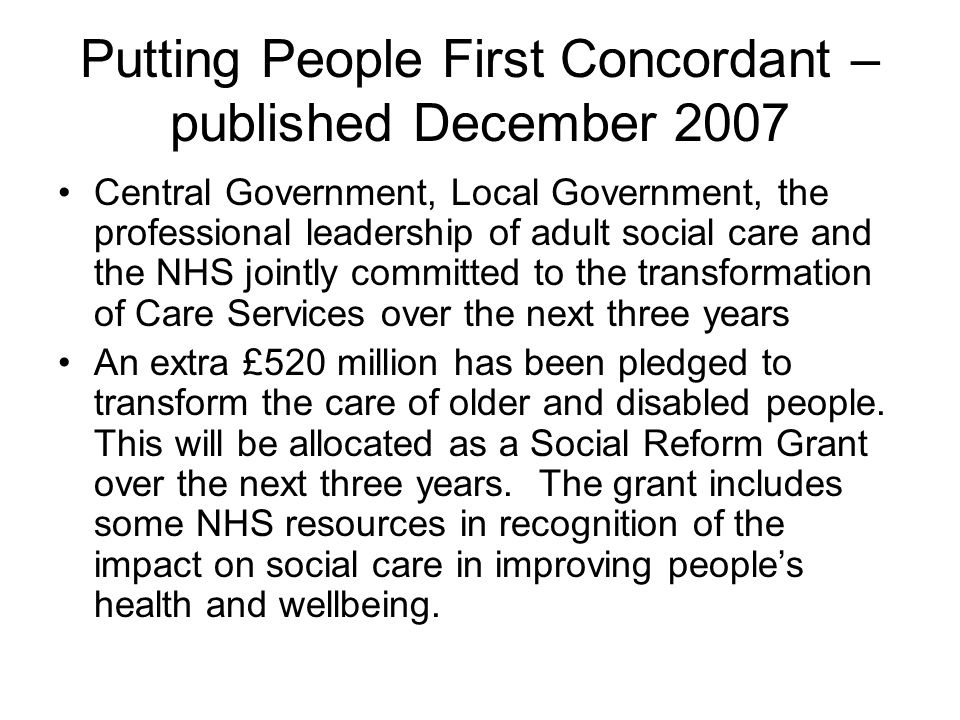 Putting People First Concordant – published December 2007