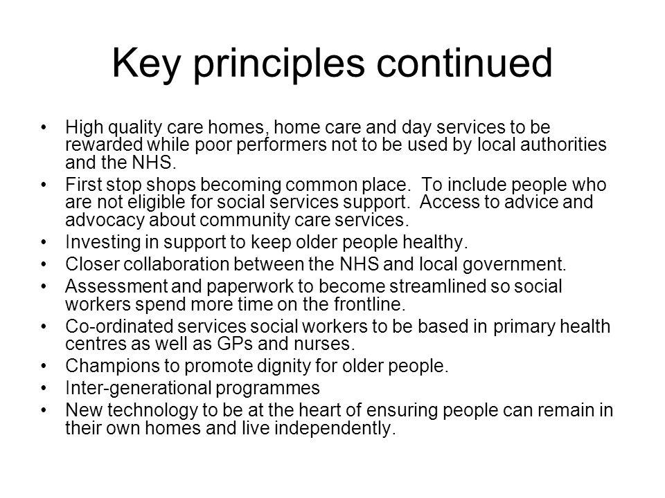 Key principles continued