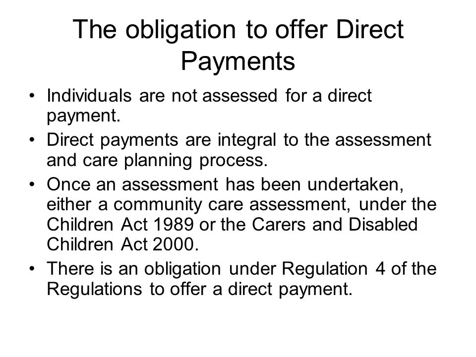 The obligation to offer Direct Payments
