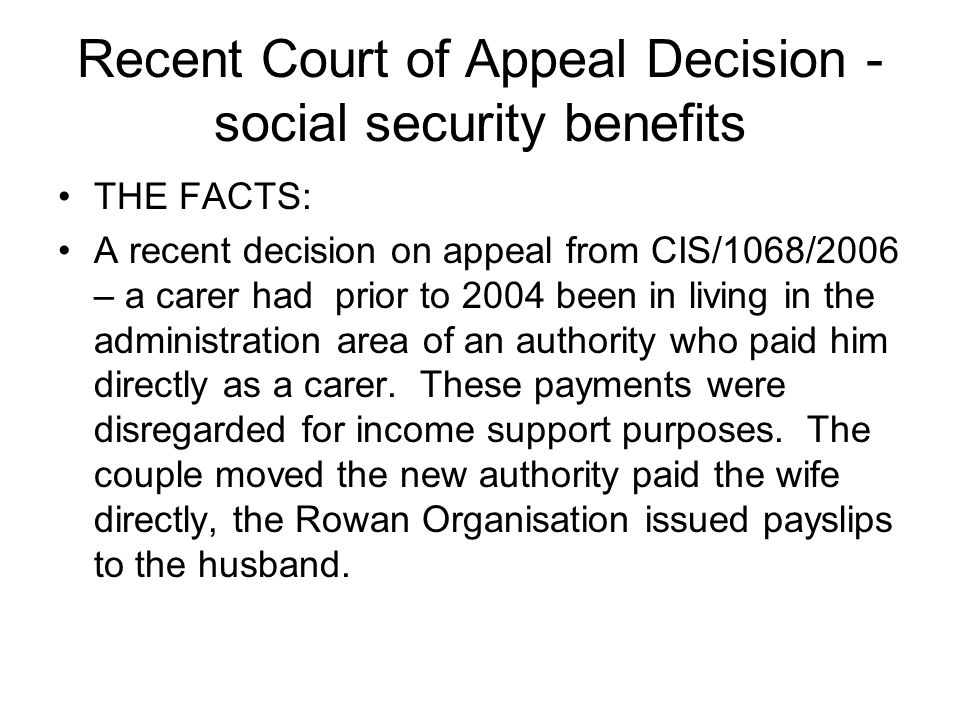 Recent Court of Appeal Decision - social security benefits