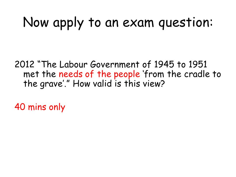 Now apply to an exam question: