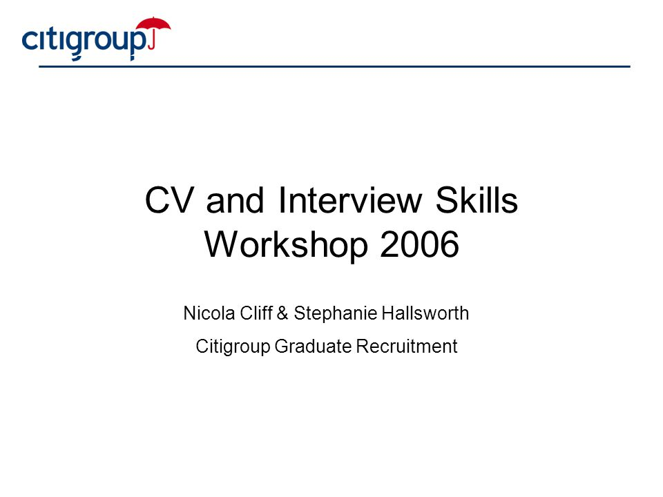 Cv writing and interview techniques workshop