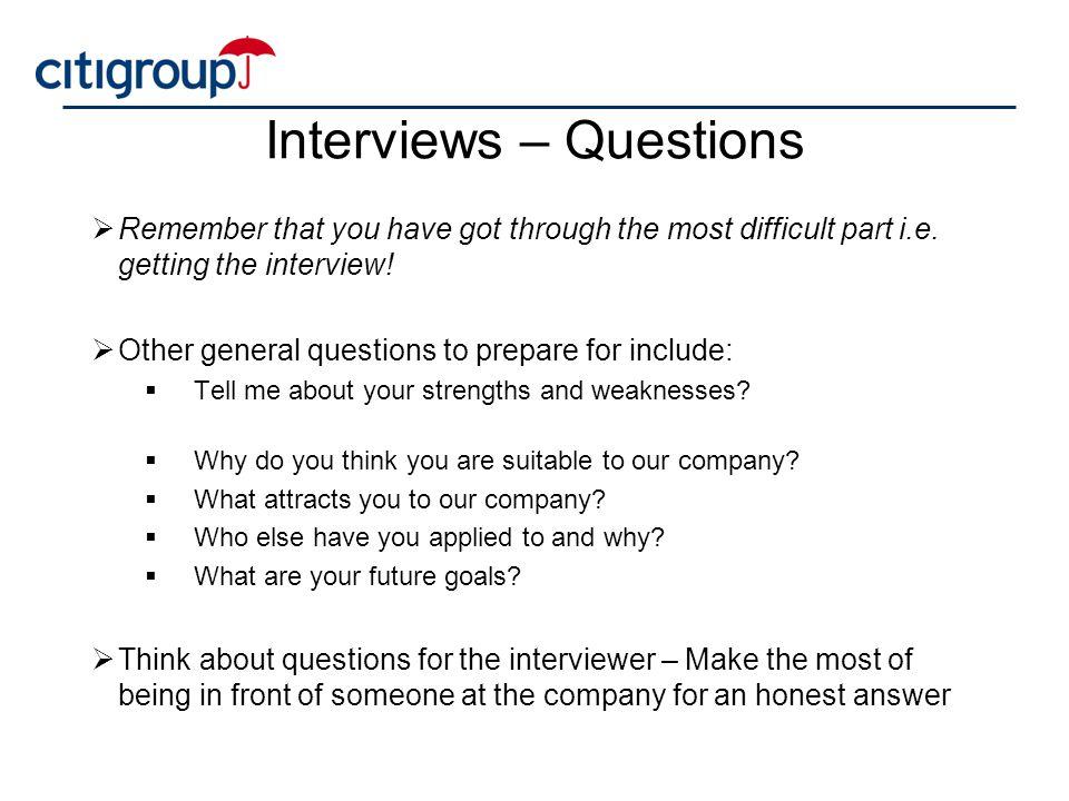 Interviews – Questions