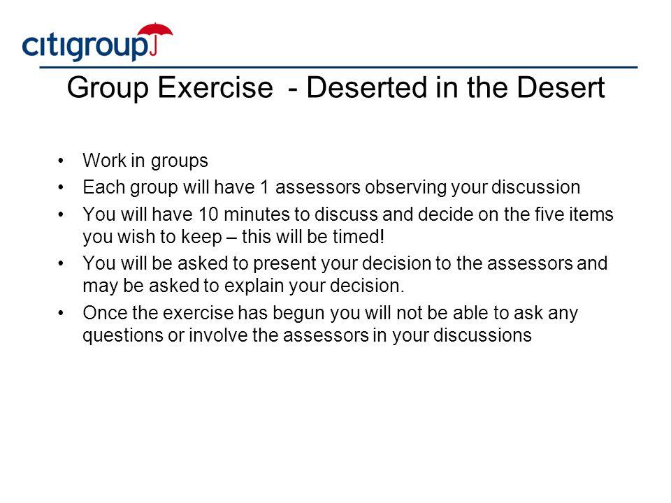 Group Exercise - Deserted in the Desert