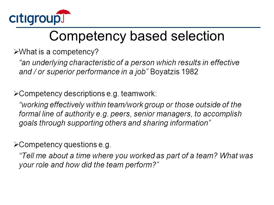 Competency based selection