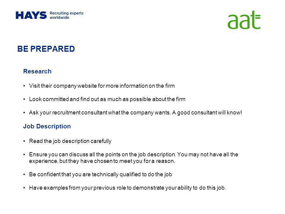 BE PREPARED Research Job Description