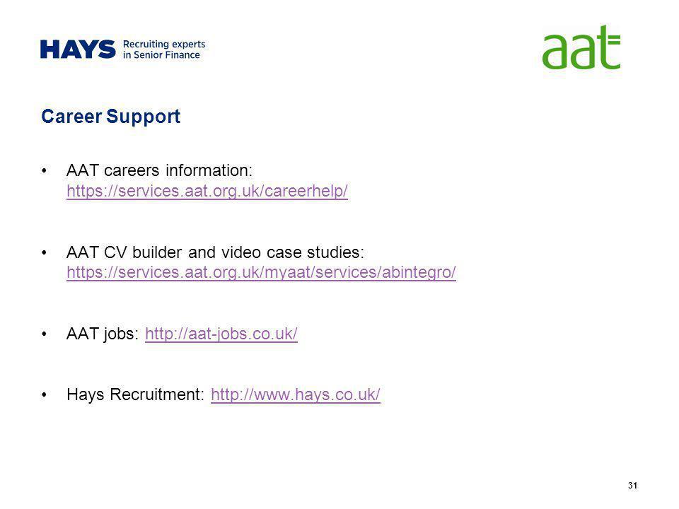 Career Support AAT careers information: https://services.aat.org.uk/careerhelp/