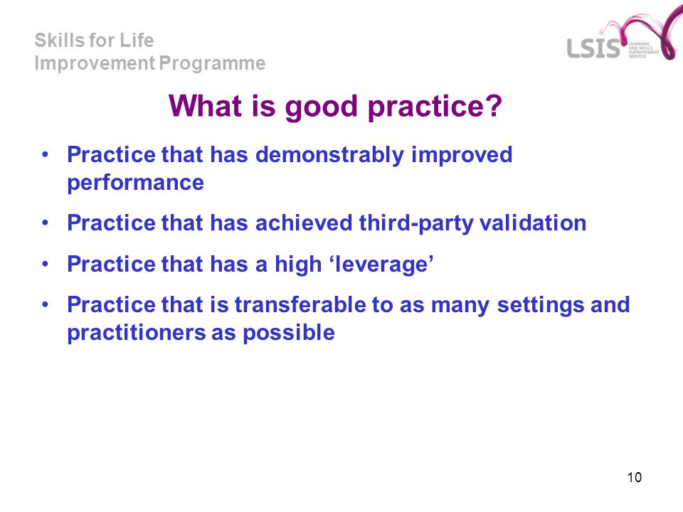 What is good practice Practice that has demonstrably improved performance. Practice that has achieved third-party validation.