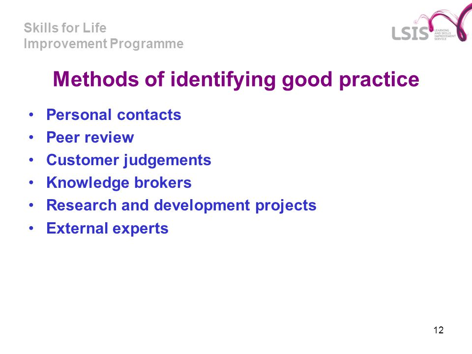 Methods of identifying good practice