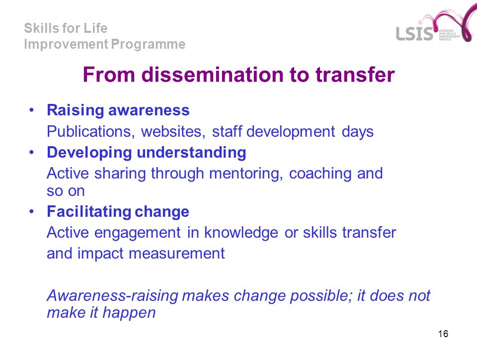 From dissemination to transfer