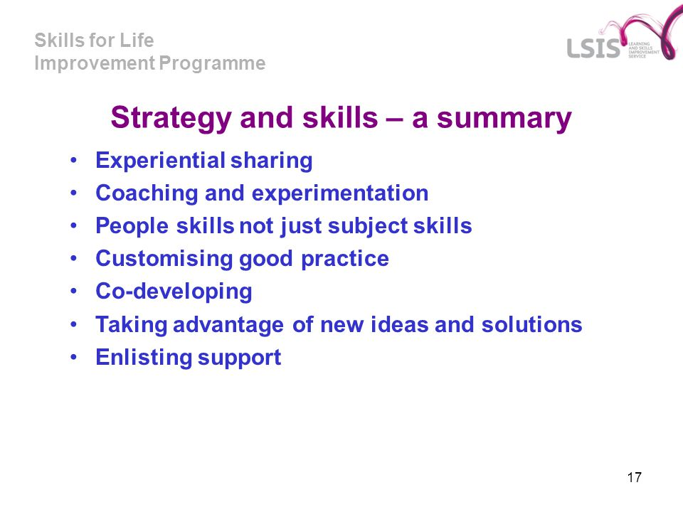 Strategy and skills – a summary