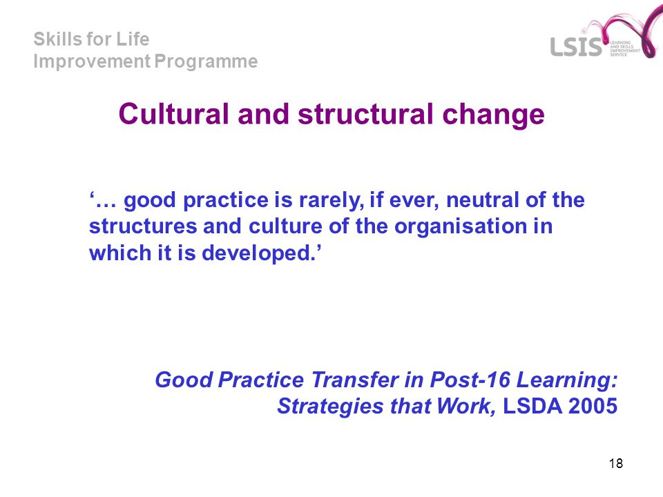 Cultural and structural change