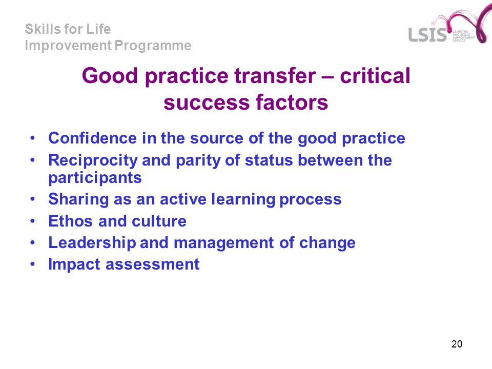 Good practice transfer – critical success factors