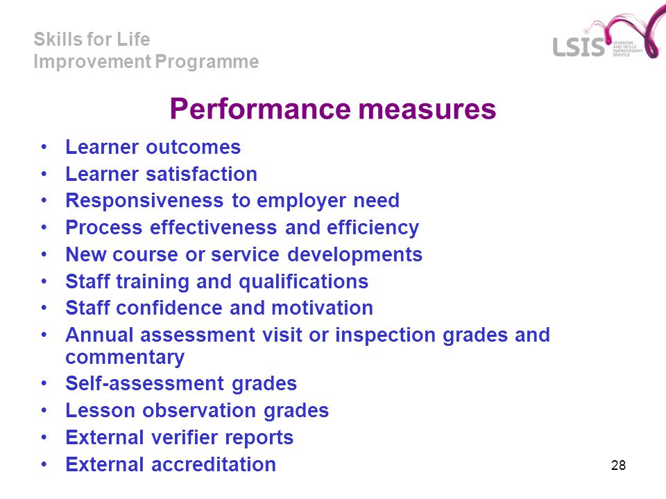 Performance measures Learner outcomes Learner satisfaction