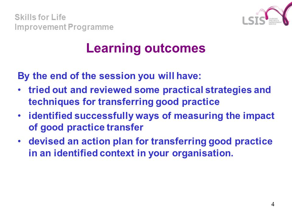 Learning outcomes By the end of the session you will have: