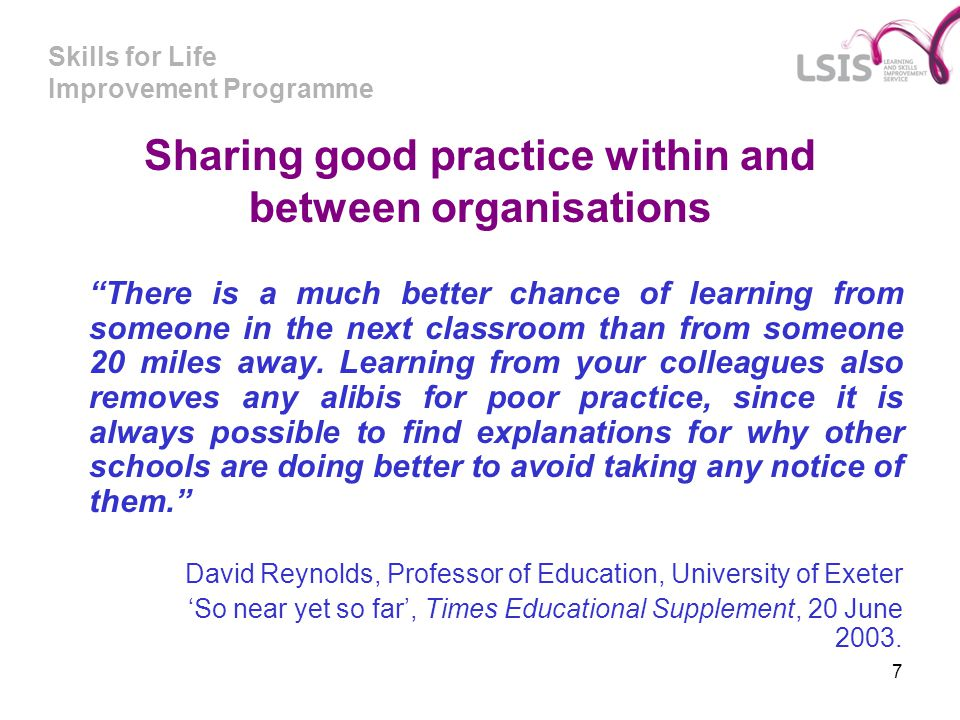 Sharing good practice within and between organisations