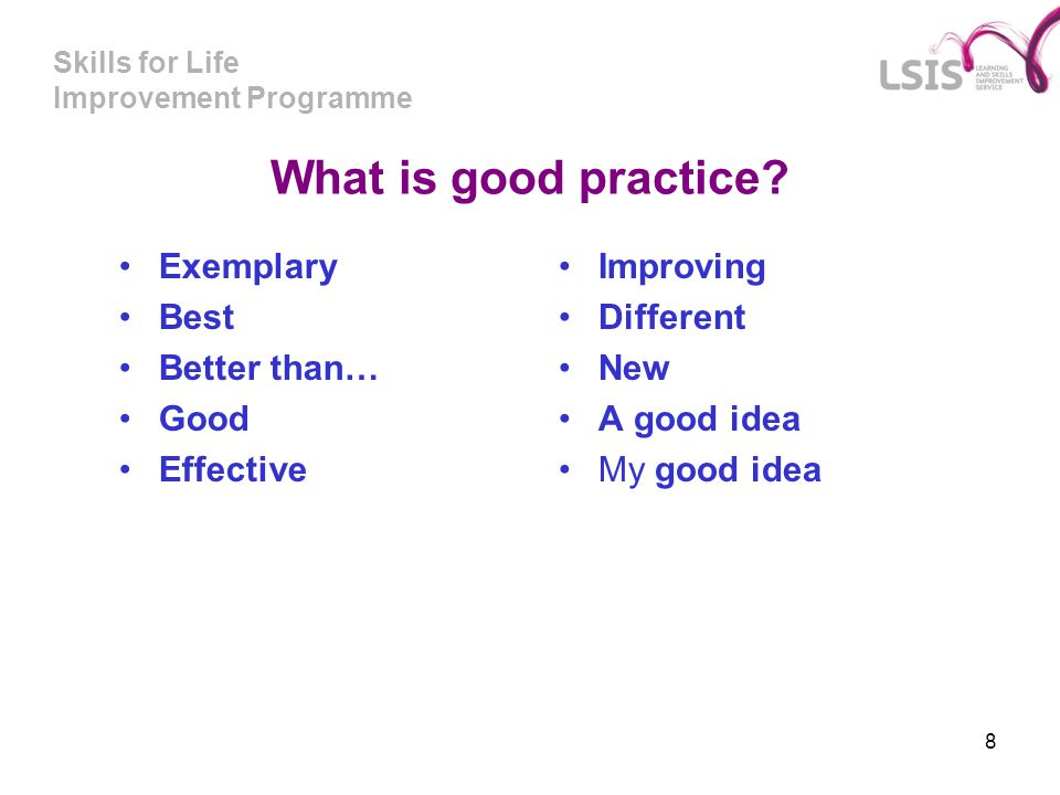 What is good practice Exemplary Best Better than… Good Effective