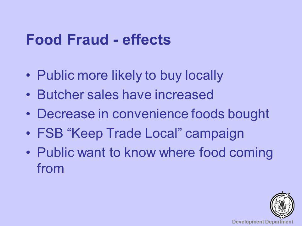 Food Fraud - effects Public more likely to buy locally