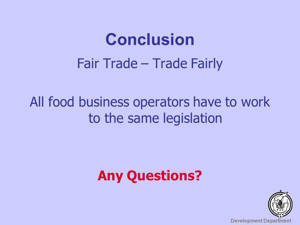 Conclusion Fair Trade – Trade Fairly