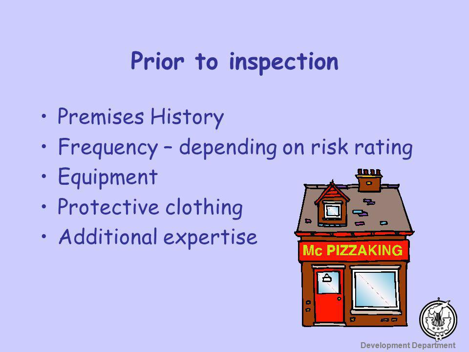 Prior to inspection Premises History