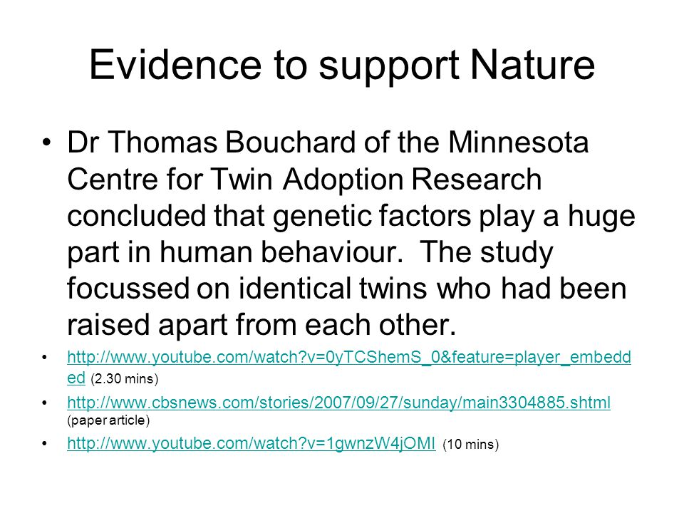 Evidence to support Nature