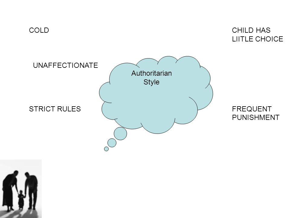 COLD CHILD HAS LIITLE CHOICE. UNAFFECTIONATE. STRICT RULES FREQUENT. PUNISHMENT. Authoritarian.
