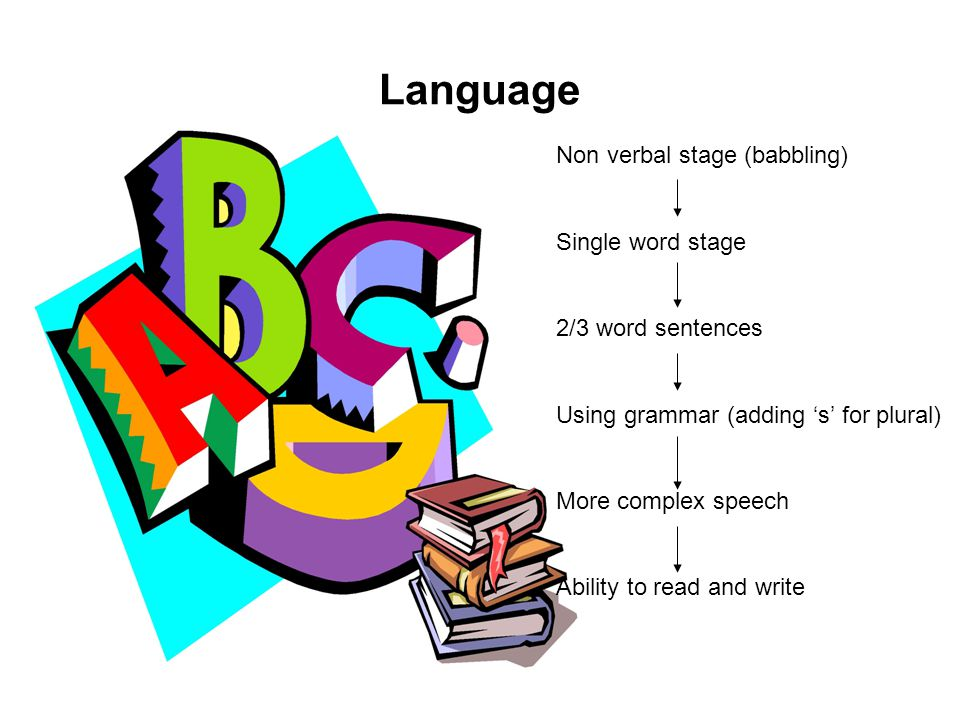 Language Non verbal stage (babbling) Single word stage