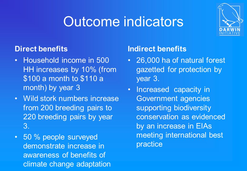 Outcome indicators Direct benefits Indirect benefits