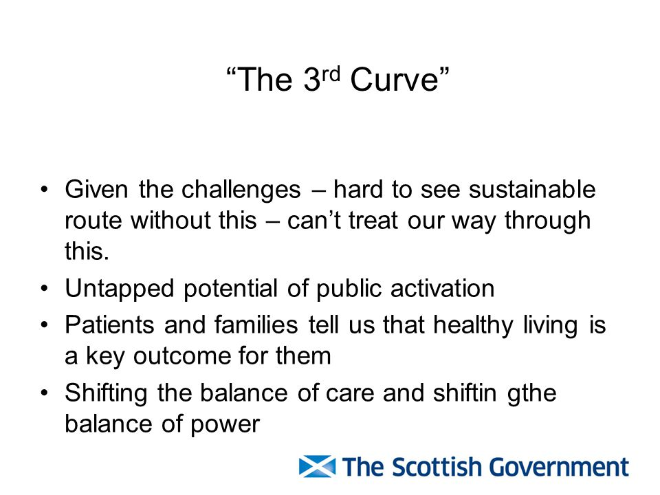 The 3rd Curve Given the challenges – hard to see sustainable route without this – can't treat our way through this.