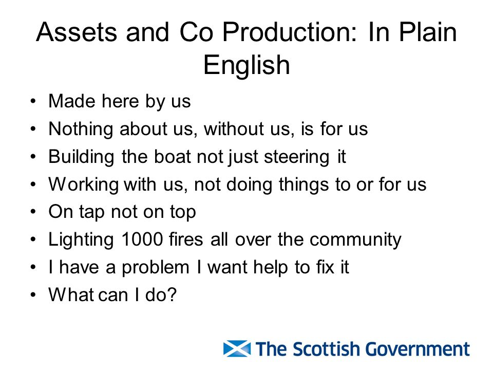 Assets and Co Production: In Plain English