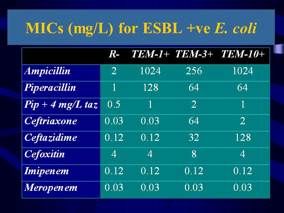 MICs (mg/L) for ESBL +ve E. coli