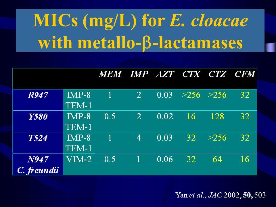 MICs (mg/L) for E. cloacae with metallo-b-lactamases
