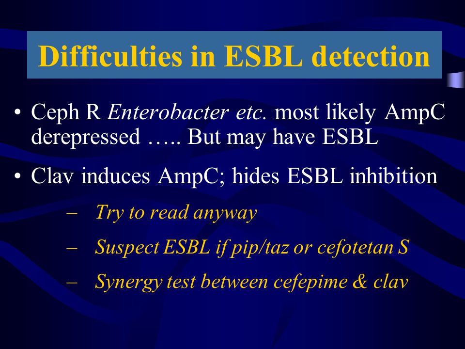 Difficulties in ESBL detection