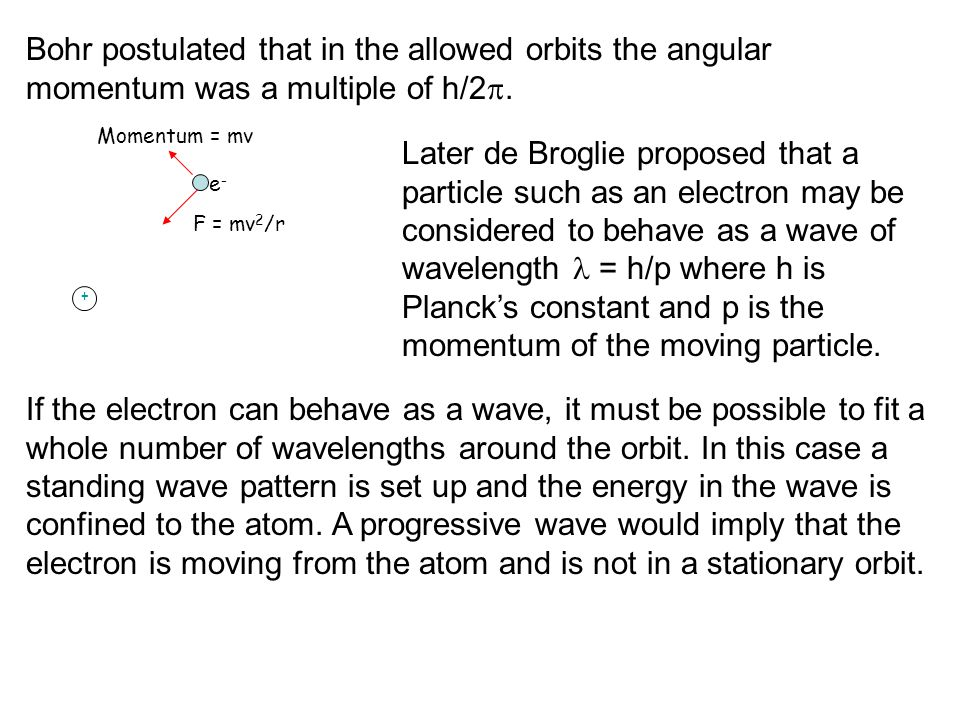 Bohr postulated that in the allowed orbits the angular momentum was a multiple of h/2.
