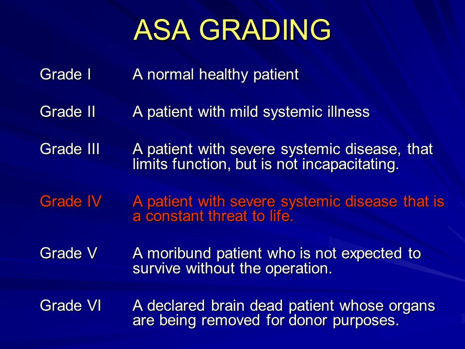 ASA GRADING Grade I A normal healthy patient