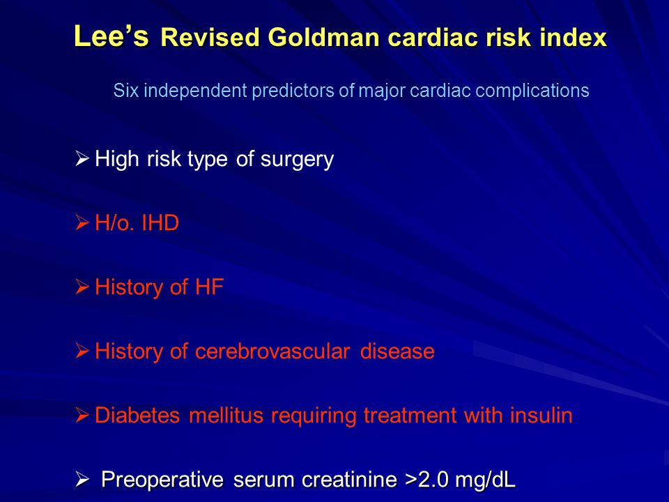 Lee's Revised Goldman cardiac risk index