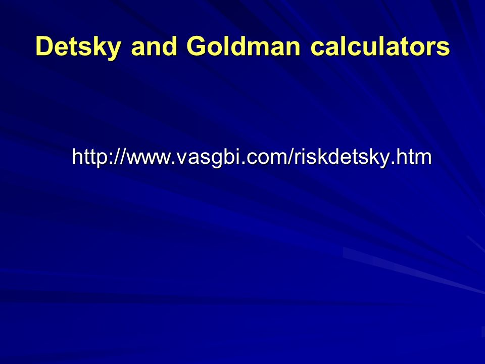 Detsky and Goldman calculators