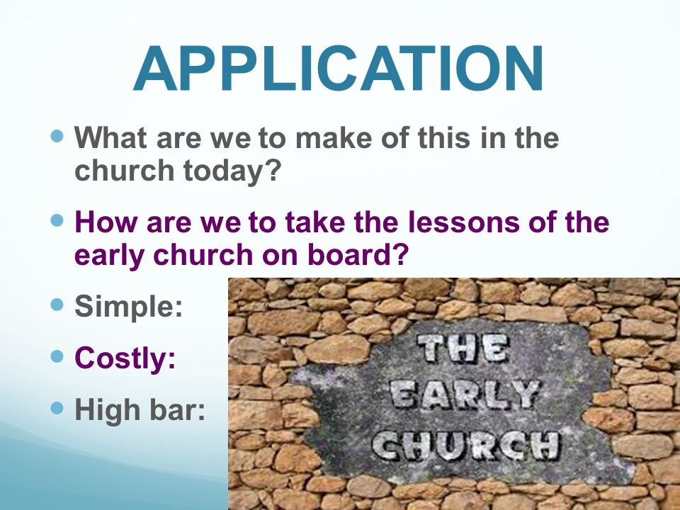 APPLICATION What are we to make of this in the church today