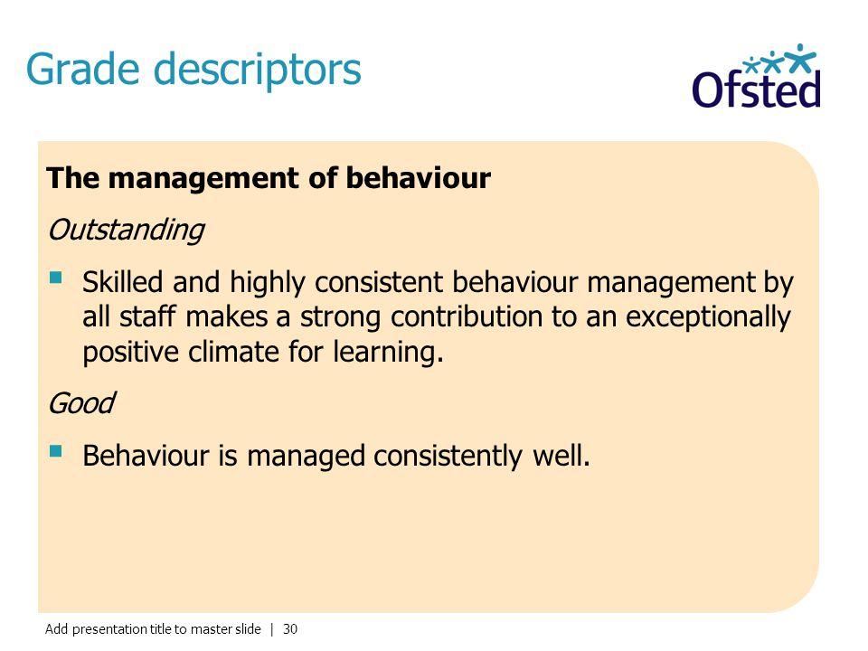 Grade descriptors The management of behaviour Outstanding