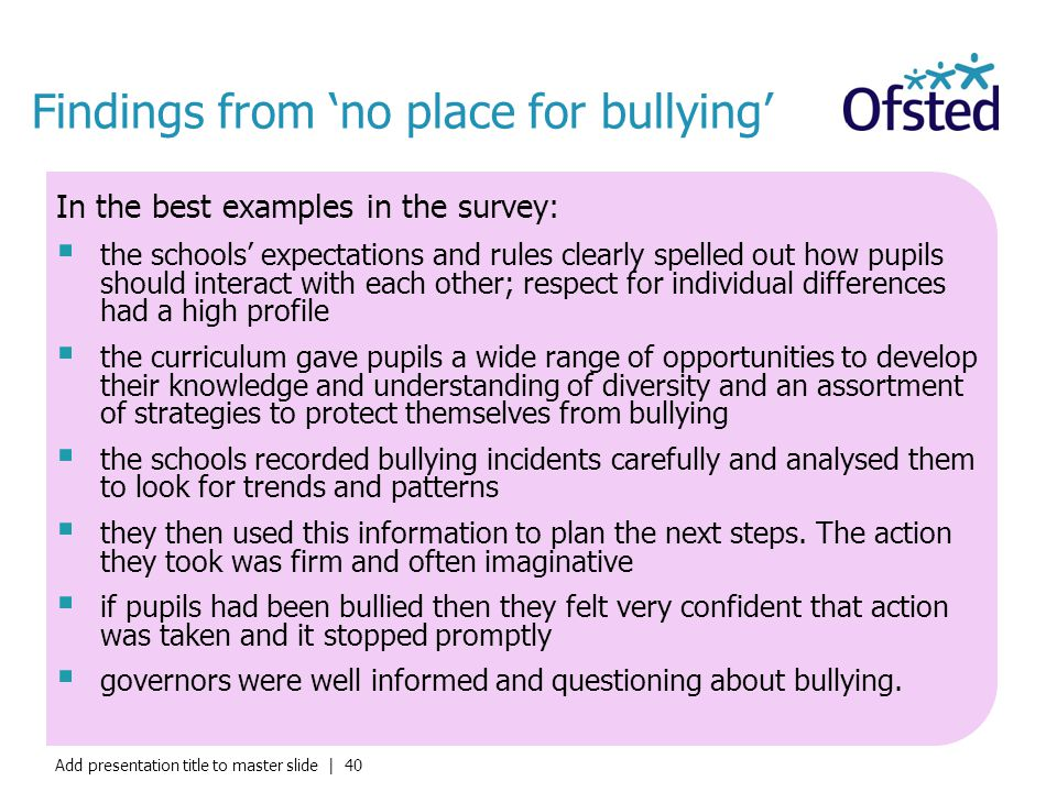 Findings from 'no place for bullying'
