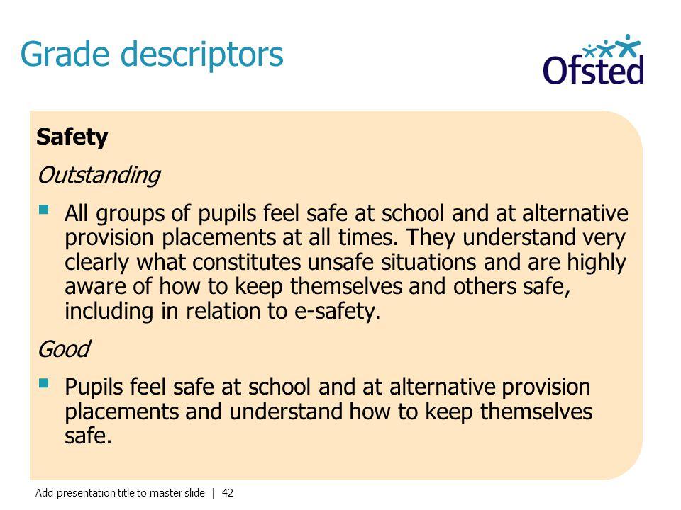 Grade descriptors Safety Outstanding