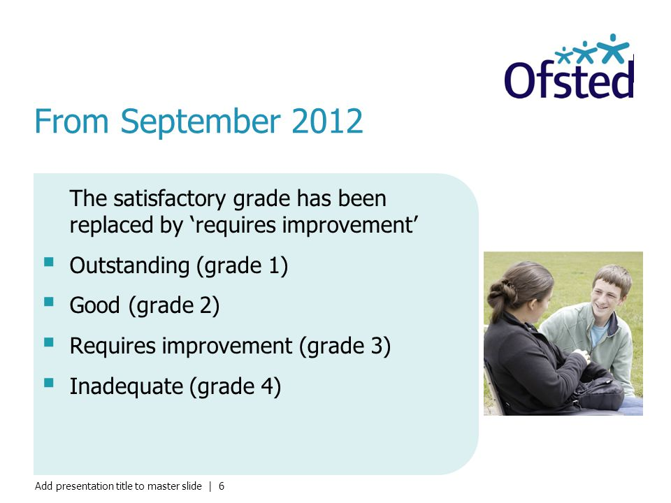 From September 2012 The satisfactory grade has been replaced by 'requires improvement' Outstanding (grade 1)