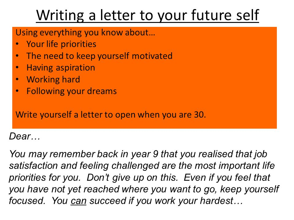 writing a letter to yourself in the future questions