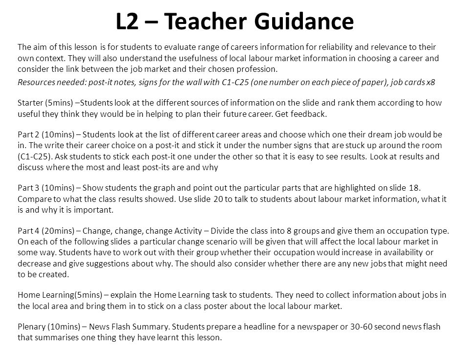 L2 – Teacher Guidance