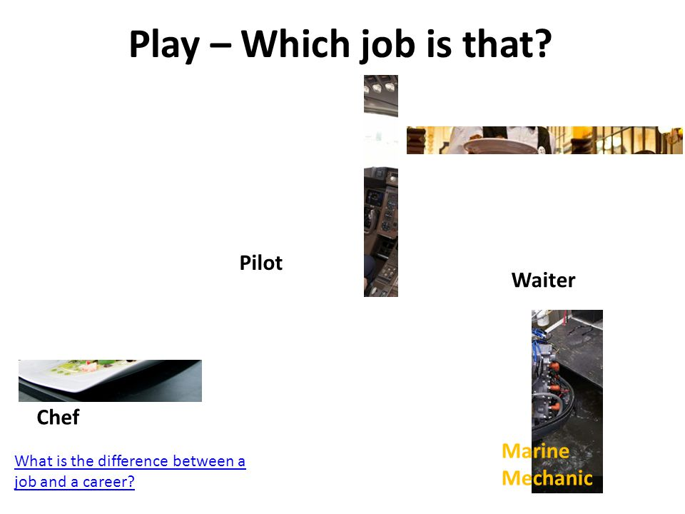 Play – Which job is that Pilot Waiter Chef Marine Mechanic