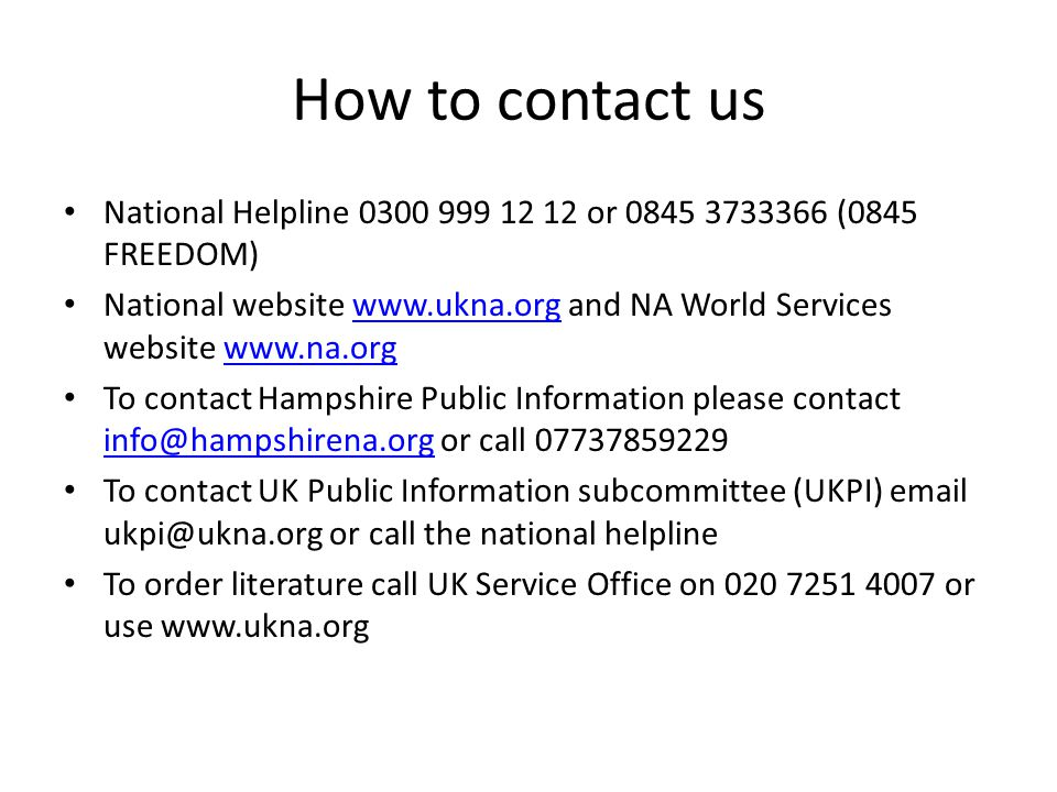 How to contact us National Helpline 0300 999 12 12 or 0845 3733366 (0845 FREEDOM)
