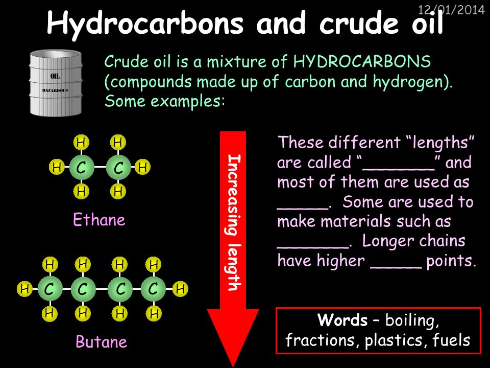 Hydrocarbons and crude oil