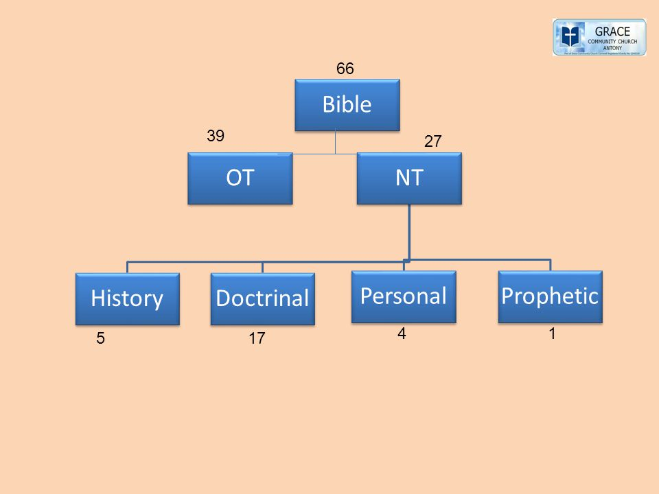 NT History Personal Doctrinal Prophetic OT Bible 66 39 27 4 1 5 17