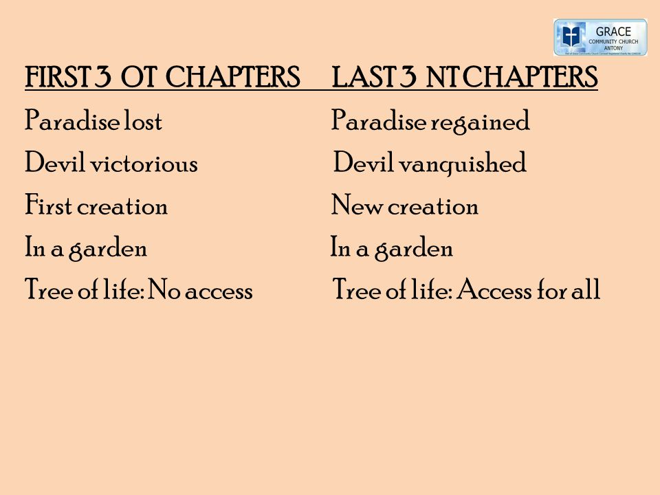 FIRST 3 OT CHAPTERS LAST 3 NT CHAPTERS