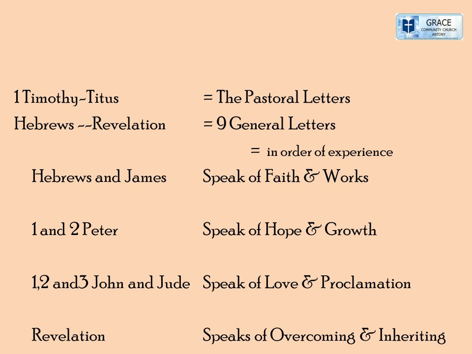 1 Timothy-Titus = The Pastoral Letters